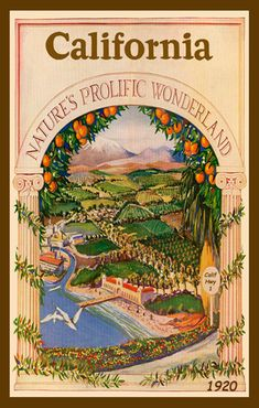 California Natures Prolific Wonderland - 1920 poster. Printed on cotton. Ready to sew. Single 4x6 block $4.95.