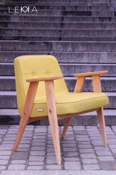 The armchair designeb by J.Chierowski. Model 366. Designed in 60s. Redesigned by LEKKA furniture  Fotel projektu Józefa Chierowskiego. Model 366. Produkowany w latach 60tych