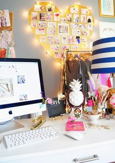Lots of design inspiration here for any girl of any age! Bedroom, office area, study area, dorm room. Love touch of whimsy and look at that pineapple holding a necklace! The lit up heart would be simple to do. Love the beautiful wall color with pops of gold, navy, hot pink, white. The gold stapler!! This is truly eye candy.