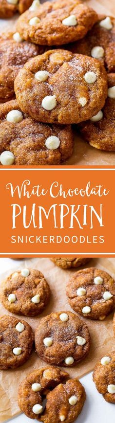 These White Chocolate Pumpkin Snickerdoodles are a MUST try! So soft & chewy wit… These White Chocolate Pumpkin Snickerdoodles are a MUST try! So soft & chewy without being cakey using a few kitchen tested tricks. Recipe by sallysbakingaddic… Holiday Desserts, Just Desserts, Delicious Desserts, Dessert Recipes, Yummy Food, Tasty, Thanksgiving Desserts, Dinner Recipes, Desserts Menu