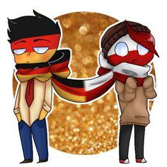 #Poland_x_Germany by I Sasuhina, Country Art, Hetalia, First Love, Cool Art, Germany, Memes, Drawings, Funny