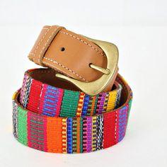 vintage ETHNIC colorful GUATEMALAN leather woven belt size M/L by PasseNouveauVintage, $12.00