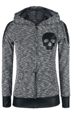 Heather grey hoody with black pleather skull applique, pleather cuffs, and waistband.  Modify your own sweaters with a new twist by mimicking this one.. Get the supplies to make it: http://mjtrends.com/pins.php?name=black-pleather-for-appliques