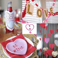 Valentine dinner - so many fun ideas- paper hearts mobile from the light fixture, love/compliment book, conversation heart centerpieces, and even heart shaped potatoes and dessert. My Funny Valentine, Valentines Surprise, Valentines Day Party, Valentine Day Love, Valentines Day Decorations, Valentines For Kids, Valentine Day Crafts, Valentine Ideas, Valentine Special