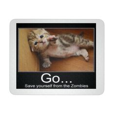 """CAT ZOMBIES MEME PRODUCT INFORMATION 9.25 """"x 7.75"""" 1/4"""" thickness Made of durable neoprene Pad consists of a soft rubber backing with a polyester top"""