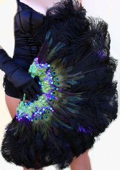 Burlesque Showgirl Jeweled PEACOCK & Ostrich by sajeeladesign