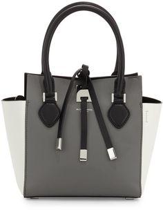 7fa8258bbf55 Michael Kors Miranda Extra-Small Colorblock Tote Bag in Gray (slate)