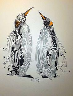 Penguins Zentangle Art - Pen and Ink on Bristol Board. by Chris Chapman Pinguin Drawing, Pinguin Tattoo, Penguin Art, Bristol Board, Tangle Art, Zentangle Patterns, Zentangles, Wow Art, Art Design