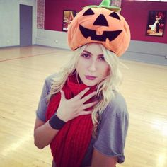 Emma Slater @EmmaSlaterDance Trying to work the pumpkin after rehearsals @Dancing With The Stars #DWTS
