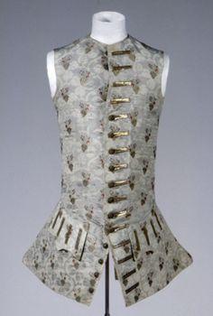 Sleeveless Waistcoat, 1760, Germany, gray-green silk, gold and silver metallic thread, lining:  gray-green silk, linen / cotton. GERMANISCHES NATIONALMUSEUM