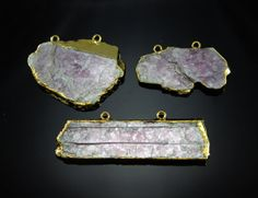 LEPIDOLITE GOLD ELECTROPLATED pendant charm gold by madameperlina, $14.90