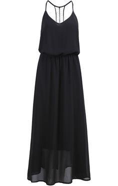 Vestido largo gasa floral con tirante-negro 17.78