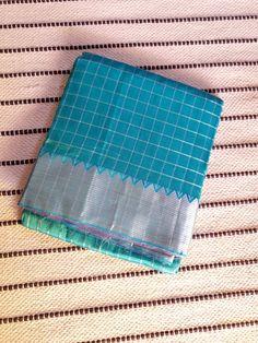 Sea blue Mangalgiri Silk Cotton Saree with pink Pallu & silver jari Border Silk Cotton Sarees, Sea, Pink, Silver, Blue, The Ocean, Ocean, Pink Hair, Roses