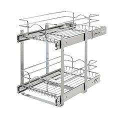 Rev-A-Shelf W x H Pull Out Metal Soft Close Basket at Lowe's. Rev-A-Shelf's two-tier baskets make other units fail in comparison. With the heavy gage construction, ball-bearing soft-close slides on both Cube Storage, Storage Shelves, Storage Baskets, Storage Spaces, Storage Ideas, Mobile Storage, Basket Shelves, Cabinet Storage, Cabinet Ideas