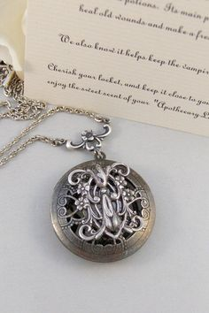 Scented Vervain,Locket,Silver,Apothecary,Vervain,Vampire,Twilight,Antique Locket,Jewelry. Handmade jewelry by valleygirldesigns.