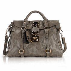 Grey Bow Embellished Glossed Leather Shoulder Bags