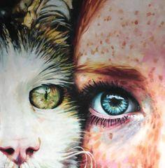 """Saatchi Art Artist Thomas Saliot; Painting, """"Cat and Girl Close UP"""" #art"""