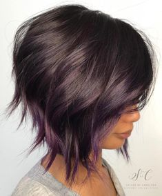 Brown Bob With Subtle Purple Balayage. 20 Purple Balayage Ideas from Subtle to Vibrant Short Hair With Layers, Short Hair Cuts, Wavy Layers, Purple Balayage, Balayage Bob, Balayage Hairstyle, Caramel Balayage, Brown Balayage, Great Hair