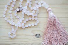 Summer mala tassel necklace / 108 8mm Rose quartz beads / Long pink mala necklace /  Hand knotted quartz necklace