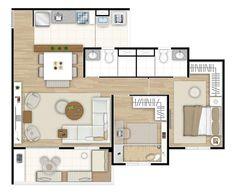 Ilustração artística da planta do apartamento de 3 dormitórios (1 suíte) opção living ampliado -74,45m² Up One Vila Carrão