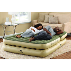 Queen Size Airbed Adjustable Dual Headrest w/ Built-in Electric Pump is a double layer, queen-sized inflatable. The airbed is fully. For maximum convenience, the airbed has a built-in electric air pump with custom. Kids Armchair, Camping Shelters, Large Tent, Cabin Tent, Ozark Trail, Air Mattress, Bed Sizes, Queen Size, Bag Storage