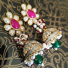 Pink Pacchi work CZ Jhumka Earrings Indian small by JhumkaBali