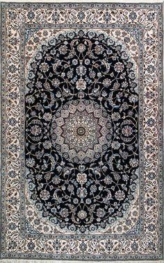 "Handmade Nain Persian Rug 6' 6"" x 10' 4"", Authentic Persian Rug"