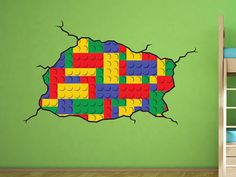 Lego style wall decal  Kids Bedroom Vinyl Wall Decal  by WallJems, $43.99