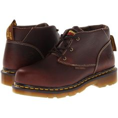 Dr. Martens Izzy ST 3 Eye Chukka (Teak) Women's Lace-up Boots ($60) ❤ liked on Polyvore featuring shoes, boots, ankle boots, brown, chukka boots, lace up ankle boots, laced ankle boots, bootie boots and short brown boots