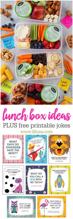 Lunch Box Ideas for the kids with printable Lunch box jokes! The kids will love these simple and tasty lunches using Marzetti Veggie Dips!