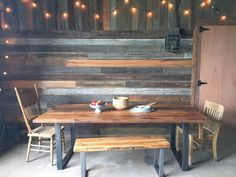 Industrial, Modern Reclaimed Wood Dining Table, Metal Legs
