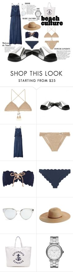 """""""Beach to Bar with TOWER LONDON"""" by tower-london ❤ liked on Polyvore featuring SHE MADE ME, Marysia Swim, Christian Dior, Melissa Odabash, Sundry and Marc Jacobs"""