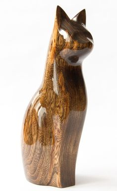 Good Sergey Groza Painter, Woodcarver Wooden Cat Carved From Ash Tree. Every  Figurine Has
