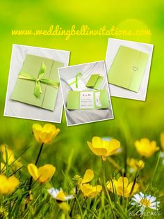 Lime green pocket folder invitation packages #limegreen #invitations #spring #summer #green #love #wedding #engagement #announcements