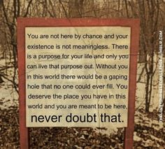 You are not here by chance and your existence is not meaningless. There is a purpose for your life and only you can live that purpose out. Without you in this world there would be a gaping hole that no one could ever fill. You deserve the place you have in this world and you are meant to be here, never doubt that.