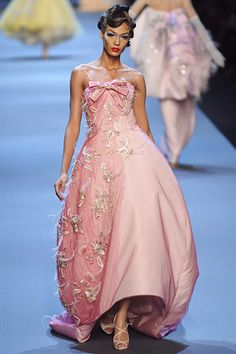 Gown - Pink - Bows - Feathers - Christian Dior Spring 2011 Couture (NY)