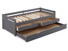 Caractéristiques techniques du lit SUSIE : Matière : Structure en pin massif Sommier fagot en pin massif Fond de tiroirs en MDF (panneau de ...