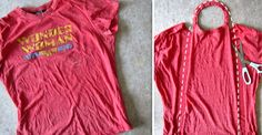 pinterest cut up shirts | This shirt inspired me to make a quick cape for my wee wonder woman ...