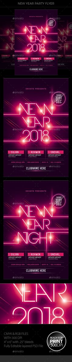 New Year Psd templates, Template and Party poster - new year poster template