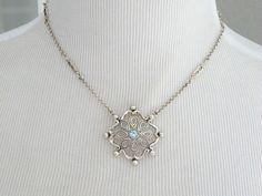 New India Ornate Blue Topaz Sterling Silver Lavalier Unique Necklace #Designer #Chain
