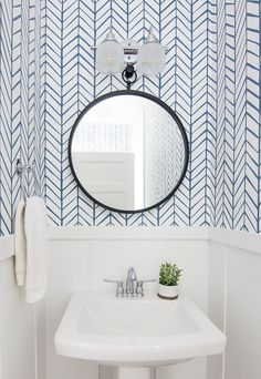 Lake House Powder Room Wallpaper in kids bathroom? Lake house powder room serena and lily wallpaper Powder Room Decor, Powder Room Design, Powder Room Storage, Coastal Powder Room, Small Bathroom, Master Bathroom, Bathroom Ideas, Downstairs Bathroom, Small Half Bathrooms