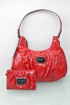 4a0434a3cf Guess Handbag Set Fiery RED Hobo Bag Satchel Purse Bags Luggage W  Wristlet  NWT