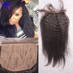 7A Silk Top Closure Brazilian Yaki Kinky Straight Silk Base Closure Free Middle 3 Part Silk Lace Closure Bleached Knots In Stock US $64.26