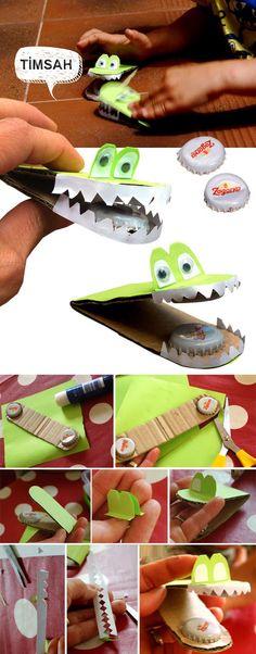 Kapak ve kartonlardan üç boyutlu timsah yapımı. Timsah nasıl yapılır, Timsah yapmak etkinlikleri çalışması ve örnekleri yapımı web sitesi sayfası.