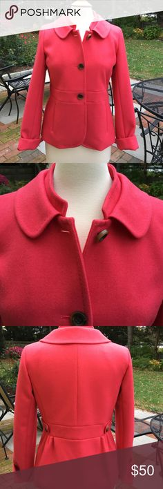 Beautiful pink blazer by J Crew 100% wool. Fully lined. Side pockets. 3 button. Pinched in back for a great fit. Wear this blazer with everything, jeans or to work. Worn a couple of times. Perfect! J. Crew Jackets & Coats Blazers