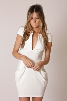 51 Beautiful City Hall Wedding Dress Details You'll Swoon Over pre-order – carrie cocktail dress – white – arrive early september – I probably have too much cleavage for this dress BUT i j'adore it, Look Fashion, Fashion Beauty, Womens Fashion, Fashion 2014, Fashion Clothes, Fashion Ideas, Fashion Outfits, Fashion Design, Mode Style