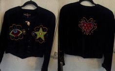 black velvet jacket with funky applique designs! now only FIVE POUNDS in our flash sale this week! Black Velvet Jacket, Winter Months, Applique Designs, Fancy, Coats, Denim, Jackets, Fashion, Down Jackets