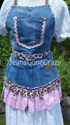 Items similar to Denim Blue Jean Ruffle Apron - Pink Ribbon Garden Kitchen Craft on Etsy Sewing Aprons, Denim Aprons, Jean Apron, Ruffle Apron, Cute Aprons, Recycled Denim, Couture, Denim Fabric, Refashion