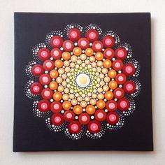 Original pintura de Mandala rojo 15x15cm en lona, pintura, oficina y ornamento casero, arte del Henna regalo Dotilism Dotart, mandala rojo