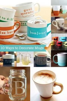 Learn to decorate mugs! These DIY mugs are perfect gifts for any time of year. Here are 10 fantastic ideas with tips on how to make them fabulous. Diy Mugs, Craft Tutorials, Decoupage, Learning, Tableware, Easy, How To Make, Fun, Gifts